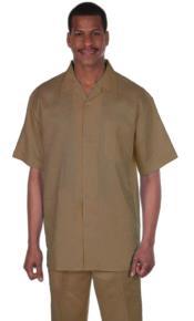 SKU#KA3610 Longstry Mens Suit 100% Linen Fabric – Khaki