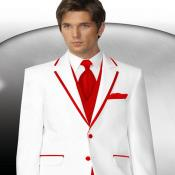Mens 2 Button Style White Tuxedo With Hot Red Trim Collar + Matching Vest & Tie & Pants