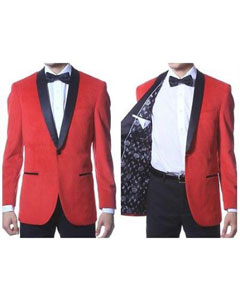 SKU#PN_P66 Mens 1 Button Velvet ~ Velour Tuxedo With Black Trim Shawl Collar Dinner Jacket Blazer Sport Coat Red