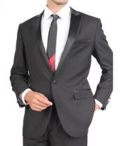 SKU#PN86 Slim Fit Tuxedo Single Button Black