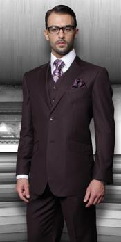 SKU#PN_O71 Side Vented Online special Discounted Sale Pleated Pants Vested Suits Mens 3 Piece Regular Fit Very Dark Purple $170