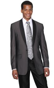 Mens Charcoal Shawl Collar