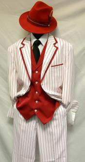 Bold Chalk Gangster Milano Moda White with Red Stripe ~ Pinstripe Vested Zoot Suit
