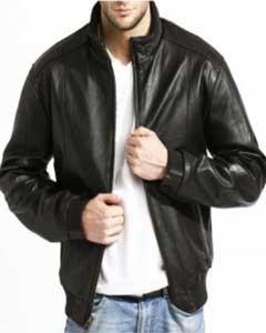 Mens Modern Leather Bomber