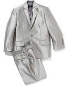 SKU#PN74 Mens Shiny Silver Grey Sharkskin Boys Kids Youth 3 Piece Premium suit