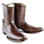 SKU#PN_M37 Wh-Dimond Western Cowboy Boot Bota Europea Piel Caiman Con Borde Color Cafe