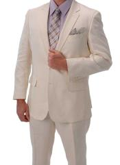 SKU#PNZ67 Light Weight Ivory ~ Off White Summer Fabric ivory ~ cream ~ off white Linen Suit