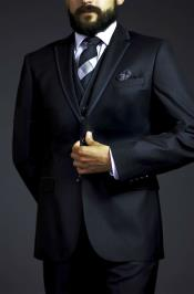 three piece black suit