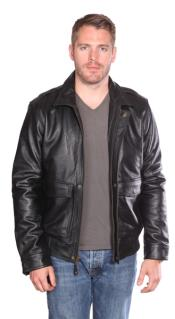 Leather Bomber Black