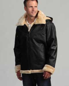Mens Leather Shearling Bomber