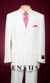SKU# QBK271 3TT10 Shiny White Single Breasted, Available in 2 button with Side Vents, Tone on Tone Stripe ~ Pinstripe