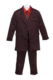 Longer Fashion Zoot Boys Pinstripe Suit Red