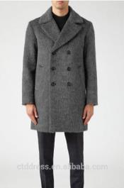 SKU#AC-647 Mens Double Breasted Long Mens Topcoat Peacoat Overcoat Charcoal Grey ~ Gray Overcoat