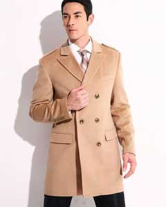 SKU#AC-654 Mens Cashmere Double Breasted Long Mens Topcoat Peacoat Overcoat Wide Peak Lapel 6 buttons Beige