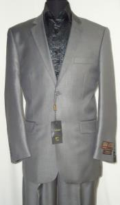 SKU#AC-685 Two Button Suit New Edition Shiny Sharkskin Silver Gray