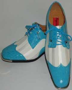 SKU#BC-92 Cool Aqua Turquoise Teal Silver Tip Dress Shoes With White Striped Satin