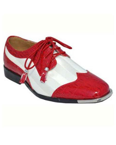 SKU#BC-96 Mens Dress Shoes Red White