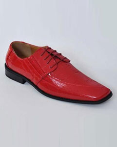 SKU#AB105 Men's Oxfords Faux Leather Croco-Embossed Dress Shoes Red