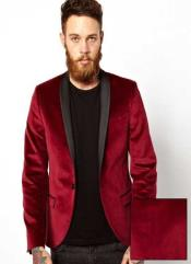 SKU# AB34 Men's Dinner Jacket Tuxedo Burgundy & black Lapel