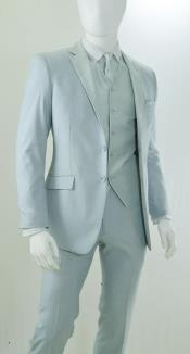 Silver Grey ~ Light Grey ~ Gray ~ Ash Color Suit or Tuxedo Suits 2 Button Vested 3 Piece Suit
