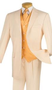 SKU#AP86K Mens seersucker vested 3 piece 3 Button Suits Peach, Baby Blue