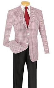 SKU#QY96L Mens Summer Seersucker Blazer Sport coat Jacket 2 button Red-Black Color $99