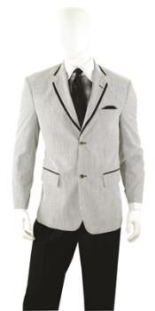 SKU#QY99L Mens Summer Seersucker Blazer Sport coat Jacket 2 button Black $99