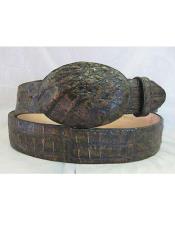 Authentic Black Brown Crocodile Western Cowboy Belt