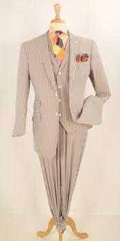 SKU#JR55W Men's 3pc Brown Seersucker Fashion Suit With Wide Leg Pants $175