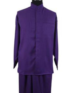 SKU#JR63W Men's 2-piece Mandarin/ Banded Collar Casual Shirt Set /Walking Suit Purple $79