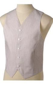 SKU#JR70W Men's Khaki and White Stripe ~ Pinstripe Seersucker Vest set $79