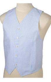 SKU#JR71W Men's Light Blue and White Stripe ~ Pinstripe Seersucker Vest Set $79