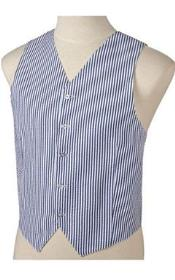 SKU#JR72W Men's Navy Blue and White Stripe ~ Pinstripe Seersucker Vest Set $79