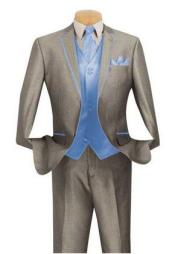 SKU#JR99W Men's Grey ~ Gray Suit With Trim Vested 3 piece 2 Button Tuxedo Suit SkyBlue 7 days delivery