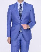 SKU#AA389 Mens 2 button Teal Blue Cobalt ~ Indigo Cobalt Steel Darker Than Royal Color Suit