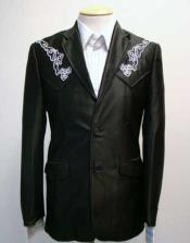 Embroidered Polyester Suit Black