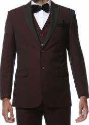 Slim Fit Ryan Seacrest Style 3 Piece Tuxedo Burgundy