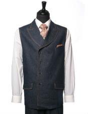 SKU#MK185 Men's IL Canto Denim Trending 2 Piece Vest Dress Casual Walking Blue DB Suit