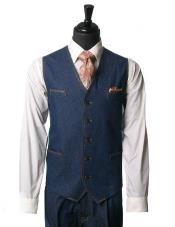 SKU#MK186 Men's IL Canto Denim Trending Mens 2 Piece Vest Dress Casual Walking Blue Suit