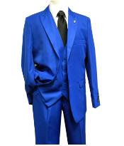 Mens Falcone 3 Piece Fashion Suit Vett Vested Solid Royal