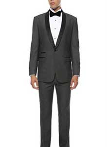 SKU#MK461 Mens Slim Fit 1 Button Shawl Collar Dinner Jacket Blazer Sport Coat Black Lapeled Matching Pants Grey With Black