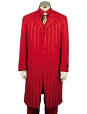 Mens Red Ton on Ton Shadow Stripe Zoot Vested 3 Piece Suit
