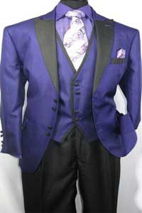 SKU#MK485 Men's House of Benets Vested Suit with 4-Button, Single-Breasted, double-vented Jacket Diamond Cut Fabric with Black Lapel and Black Buttons For Accent Purple