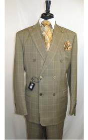 SKU#ML737 Men's Stacy Adams Plaid Double Breasted Men's Suit Jacket 6 by 4 buttons with Peak Lapel Double vented Jacket Taupe