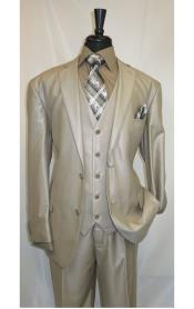 SKU#MK504 Mens Shiny Shark skin Flashy Satin Looking Metallic looking Vested 3 Piece Beige Suit