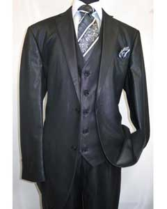 SKU#MK505 Mens Shiny Shark skin Flashy Satin Looking Metallic looking Vested 3 Piece Black Suit