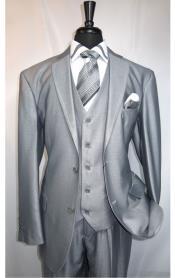 SKU#MK506 Mens Shiny Shark skin Flashy Satin Looking Metallic looking Vested 3 Piece Grey Suit