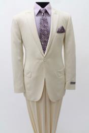 SKU#SS84 Mens 1 Single Button Suit Peak Lapel Slim Fitted Cotton Light Weight Ivory