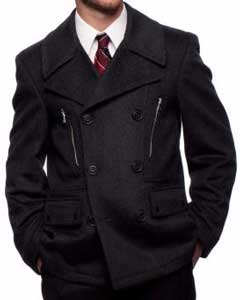 SKU#SS-1745 Men's Wool Blend Double Breasted Center Vent Peacoat Charcoal Grey