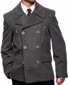SKU#SS-6255 Men's Wool Blend Checkered Double Breasted Center Vent Peacoat Grey